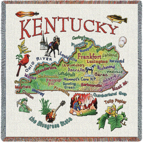 State of Kentucky - Lap Square Cotton Woven Blanket Throw - Made in the USA (54x54) Lap Square