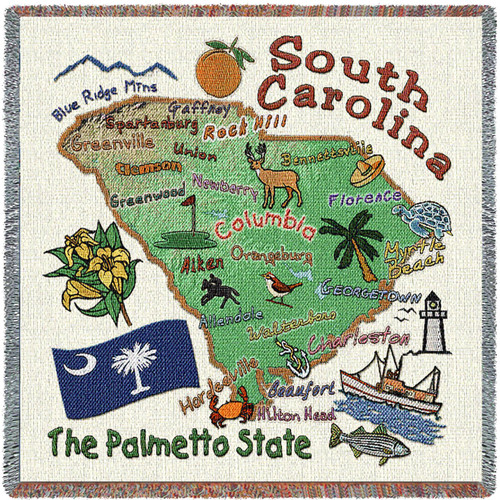 State of South Carolina - Lap Square Cotton Woven Blanket Throw - Made in the USA (54x54) Lap Square