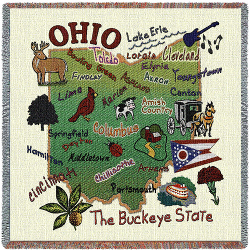 State of Ohio - Lap Square Cotton Woven Blanket Throw - Made in the USA (54x54) Lap Square