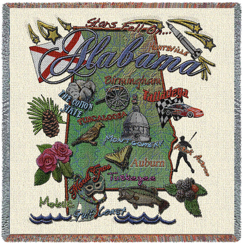 State of Alabama - Lap Square Cotton Woven Blanket Throw - Made in the USA (54x54) Lap Square