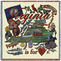 State of Virginia - Lap Square Cotton Woven Blanket Throw - Made in the USA (54x54) Lap Square