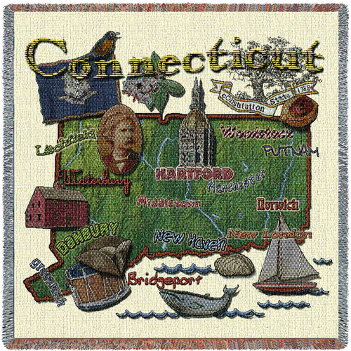 State of Connecticut - Lap Square Cotton Woven Blanket Throw - Made in the USA (54x54) Lap Square