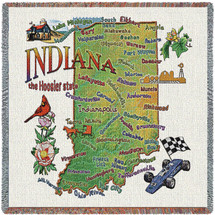 State of Indiana - Lap Square Cotton Woven Blanket Throw - Made in the USA (54x54) Lap Square