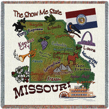 State of Missouri - Lap Square Cotton Woven Blanket Throw - Made in the USA (54x54) Lap Square