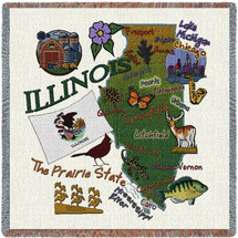 State of Illinois - Lap Square Cotton Woven Blanket Throw - Made in the USA (54x54) Lap Square