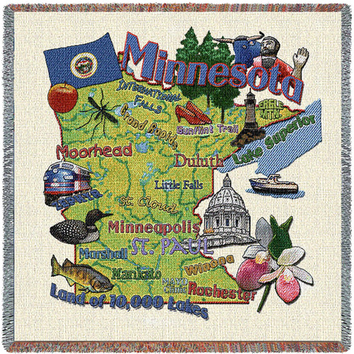 State of Minnesota - Lap Square Cotton Woven Blanket Throw - Made in the USA (54x54) Lap Square