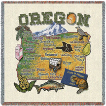 State of Oregon - Lap Square Cotton Woven Blanket Throw - Made in the USA (54x54) Lap Square