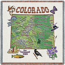 State of Colorado - Lap Square Cotton Woven Blanket Throw - Made in the USA (54x54) Lap Square
