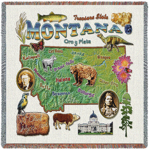 State of Montana - Lap Square Cotton Woven Blanket Throw - Made in the USA (54x54) Lap Square