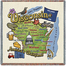 State of Wisconsin - Lap Square Cotton Woven Blanket Throw - Made in the USA (54x54) Lap Square