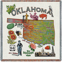 State of Oklahoma - Lap Square Cotton Woven Blanket Throw - Made in the USA (54x54) Lap Square