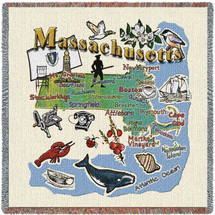State of Massachusetts - Lap Square Cotton Woven Blanket Throw - Made in the USA (54x54) Lap Square