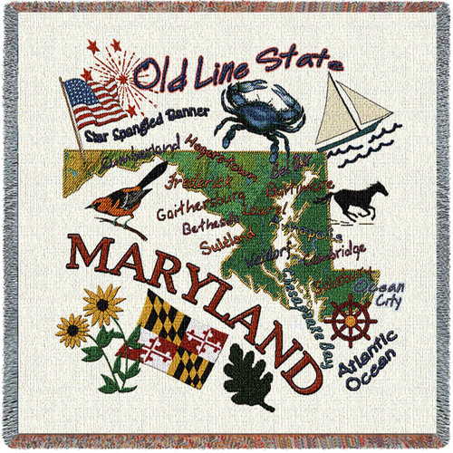 State of Maryland - Lap Square Cotton Woven Blanket Throw - Made in the USA (54x54) Lap Square