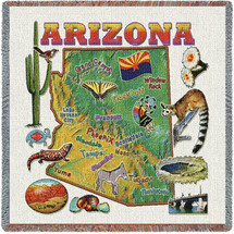 State of Arizona - Lap Square Cotton Woven Blanket Throw - Made in the USA (54x54) Lap Square
