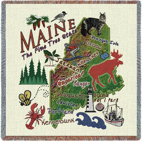State of Maine - Lap Square Cotton Woven Blanket Throw - Made in the USA (54x54) Lap Square