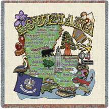 State of Louisiana - Lap Square Cotton Woven Blanket Throw - Made in the USA (54x54) Lap Square