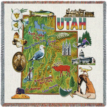 State of Utah - Lap Square Cotton Woven Blanket Throw - Made in the USA (54x54) Lap Square