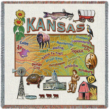 State of Kansas - Lap Square Cotton Woven Blanket Throw - Made in the USA (54x54) Lap Square