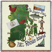 State of Rhode Island - Lap Square Cotton Woven Blanket Throw - Made in the USA (54x54) Lap Square