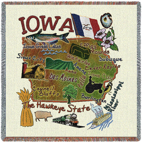 State of Iowa - Lap Square Cotton Woven Blanket Throw - Made in the USA (54x54) Lap Square