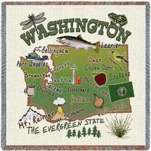 State of Washington - Lap Square Cotton Woven Blanket Throw - Made in the USA (54x54) Lap Square