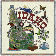 State of Idaho - Lap Square Cotton Woven Blanket Throw - Made in the USA (54x54) Lap Square