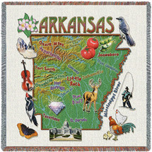 State of Arkansas - Lap Square Cotton Woven Blanket Throw - Made in the USA (54x54) Lap Square
