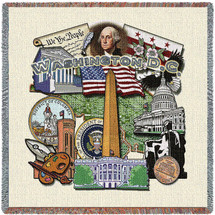 Washington DC - Lap Square Cotton Woven Blanket Throw - Made in the USA (54x54) Lap Square