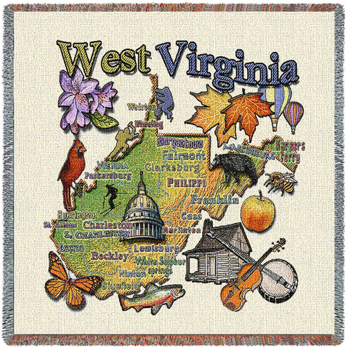 State of West Virginia - Lap Square Cotton Woven Blanket Throw - Made in the USA (54x54) Lap Square