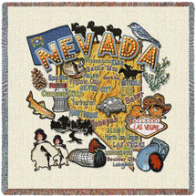 State of Nevada - Lap Square Cotton Woven Blanket Throw - Made in the USA (54x54) Lap Square