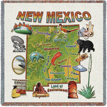 State of New Mexico - Lap Square Cotton Woven Blanket Throw - Made in the USA (54x54) Lap Square