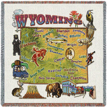 State of Wyoming - Lap Square Cotton Woven Blanket Throw - Made in the USA (54x54) Lap Square