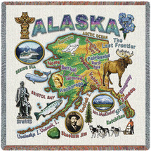 State of Alaska - Lap Square Cotton Woven Blanket Throw - Made in the USA (54x54) Lap Square