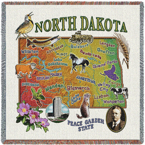 State of North Dakota - Lap Square Cotton Woven Blanket Throw - Made in the USA (54x54) Lap Square