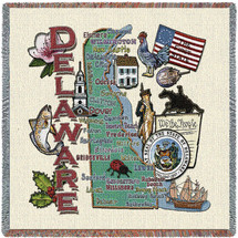 State of Delaware - Lap Square Cotton Woven Blanket Throw - Made in the USA (54x54) Lap Square