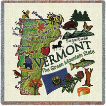 State of Vermont - Lap Square Cotton Woven Blanket Throw - Made in the USA (54x54) Lap Square
