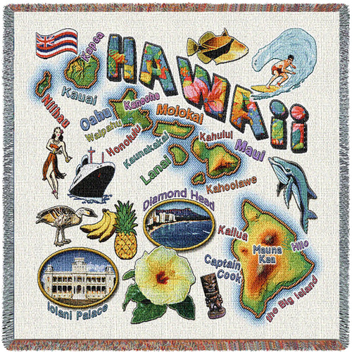 State of Hawaii - Lap Square Cotton Woven Blanket Throw - Made in the USA (54x54) Lap Square