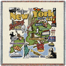 State of New York - New York City - Lap Square Cotton Woven Blanket Throw - Made in the USA (54x54) Lap Square