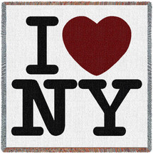 I Love New York - Lap Square Cotton Woven Blanket Throw - Made in the USA (54x54) Lap Square