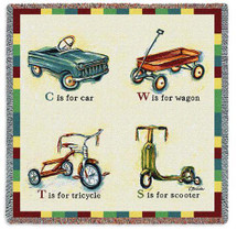 Car Wagon Tricycle Scooter - Catherine Richards - Lap Square Cotton Woven Blanket Throw - Made in the USA (54x54) Lap Square