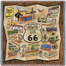 Historic US.Route 66 - Lap Square Cotton Woven Blanket Throw - Made in the USA (54x54) Lap Square