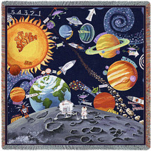 Solar System - Lap Square Cotton Woven Blanket Throw - Made in the USA (54x54) Lap Square