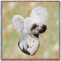 Chinese Crested - Robert May - Lap Square Cotton Woven Blanket Throw - Made in the USA (54x54) Lap Square