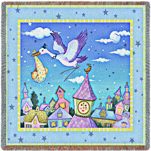 Special Delivery Stork - Viv Eisner - Lap Square Cotton Woven Blanket Throw - Made in the USA (54x54) Lap Square