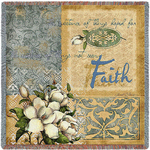 Faith - Lap Square Cotton Woven Blanket Throw - Made in the USA (54x54) Lap Square