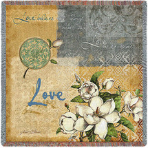 Love Believes All Things Hopes All Things Love Never Ends - Lap Square Cotton Woven Blanket Throw - Made in the USA (54x54) Lap Square