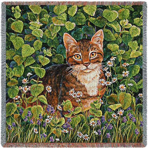 In Lemon Balm Cat - Linda Elliott - Lap Square Cotton Woven Blanket Throw - Made in the USA (54x54) Lap Square
