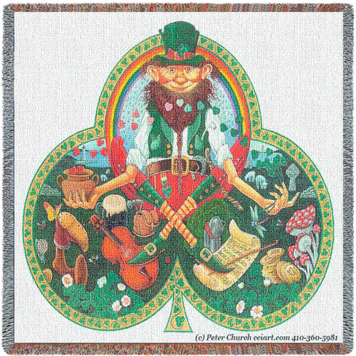 Leprechaun from Ireland Irish Woven Blanket Large Soft Comforting Throw 100% Cotton Made in the USA 54x54 Lap Square