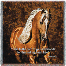 Golden Boy Horse - I Run In The Path Of Your Commands For They Set My Heart Free - Scriptures - Psalm 119:32 - Robert Dawson - Lap Square Cotton Woven Blanket Throw - Made in the USA (54x54) Lap Square