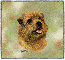 Norfolk Terrier - Robert May - Lap Square Cotton Woven Blanket Throw - Made in the USA (54x54) Lap Square